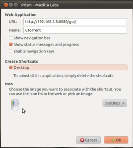 Prism setting for utorrent web app