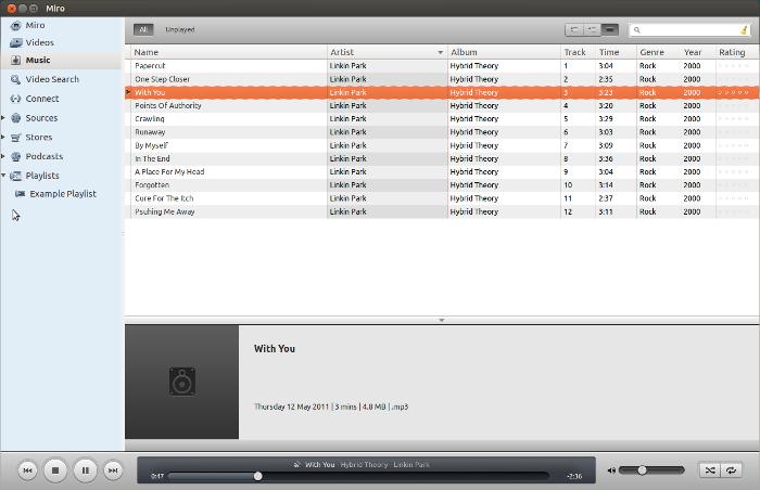 Miro 5 Ubuntu Linux Media Player