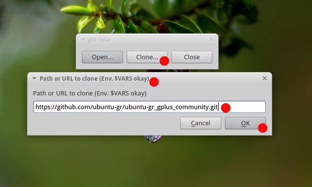 Github Git Cola GUI: Paste link