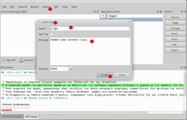 Github Git Cola GUI: Create tag