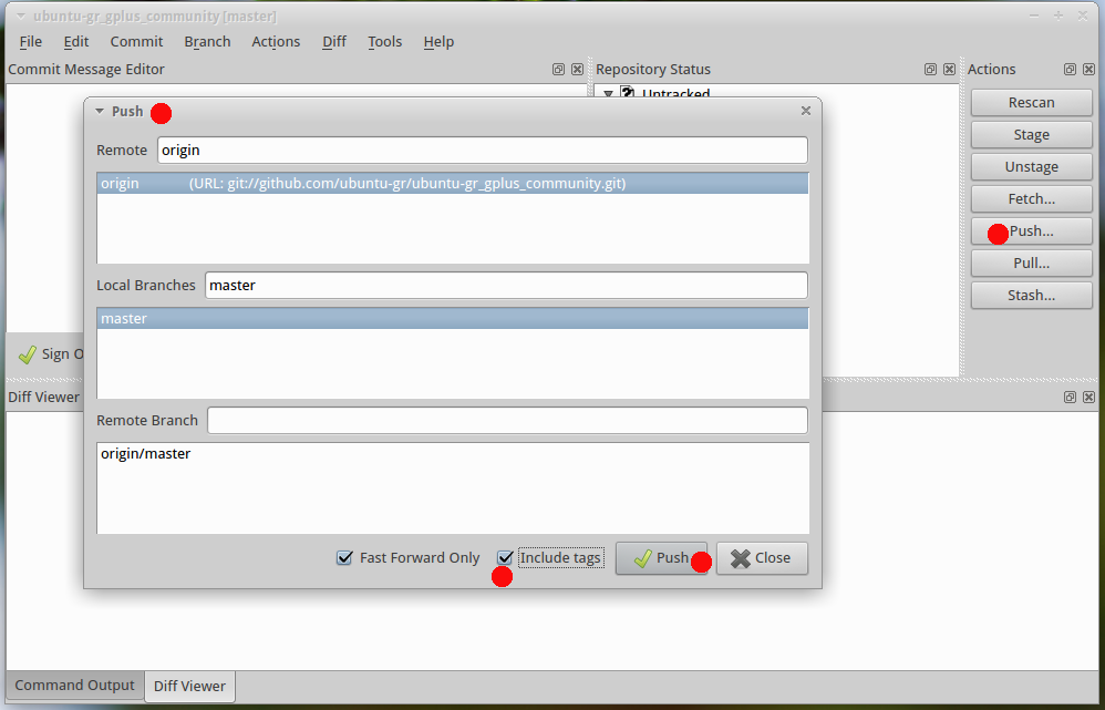 Github Git Cola GUI: Push your code to repository
