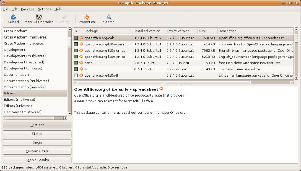 Η εγκατάσταση πακέτων στο linux είναι παιχνιδάκι ανεξαρτήτως διανομής. Εδώ το synaptic package manager για debian based διανομες.