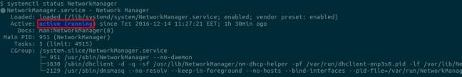 H κατάσταση της υπηρεσίας NetworkManager (ενεργή)