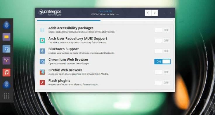 Manjaro vs Antergos - επιλογή πρόσθετων λογισμικών