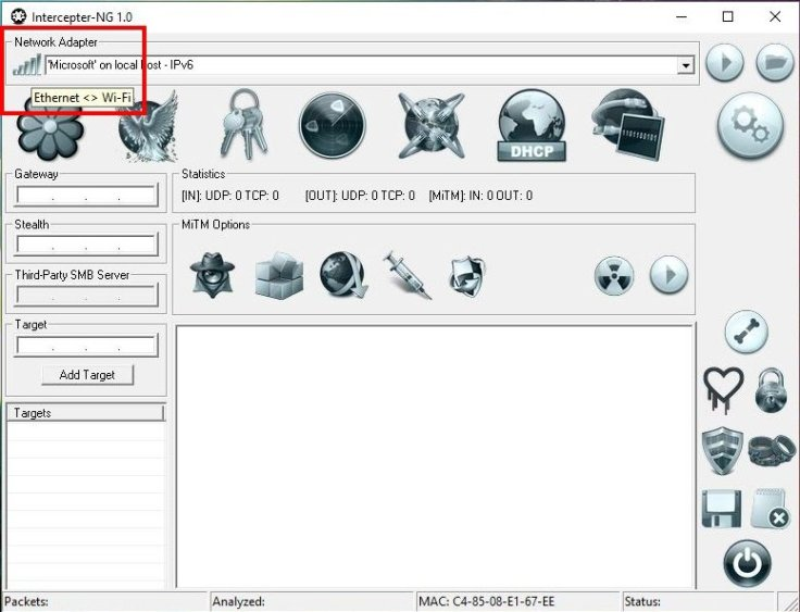 Packet Sniffer για Windows: Υποκλοπή δεδομένων τοπικού δικτύου - Intercepter-NG επιλογή κάρτας δικτύου