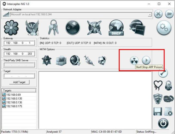 Packet Sniffer για Windows: Υποκλοπή δεδομένων τοπικού δικτύου - Intercepter-NG επιλογή  Arp attack