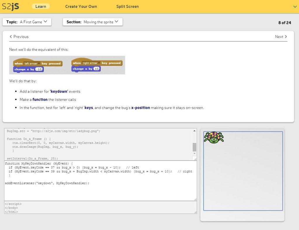 Εφαρμογές προγραμματισμού υπολογιστών για παιδιά - S2JS