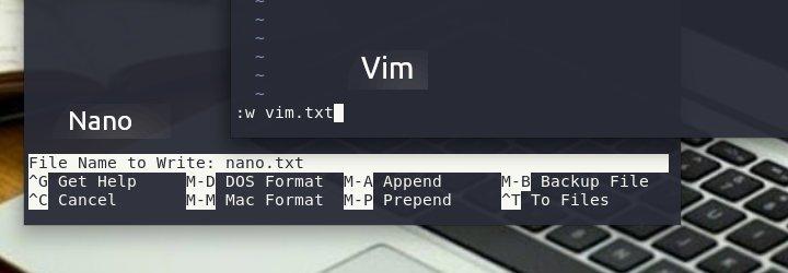 Αποθηκεύσαμε το αρχείο μας, το ένα ως nano.txt και vim.txt.
