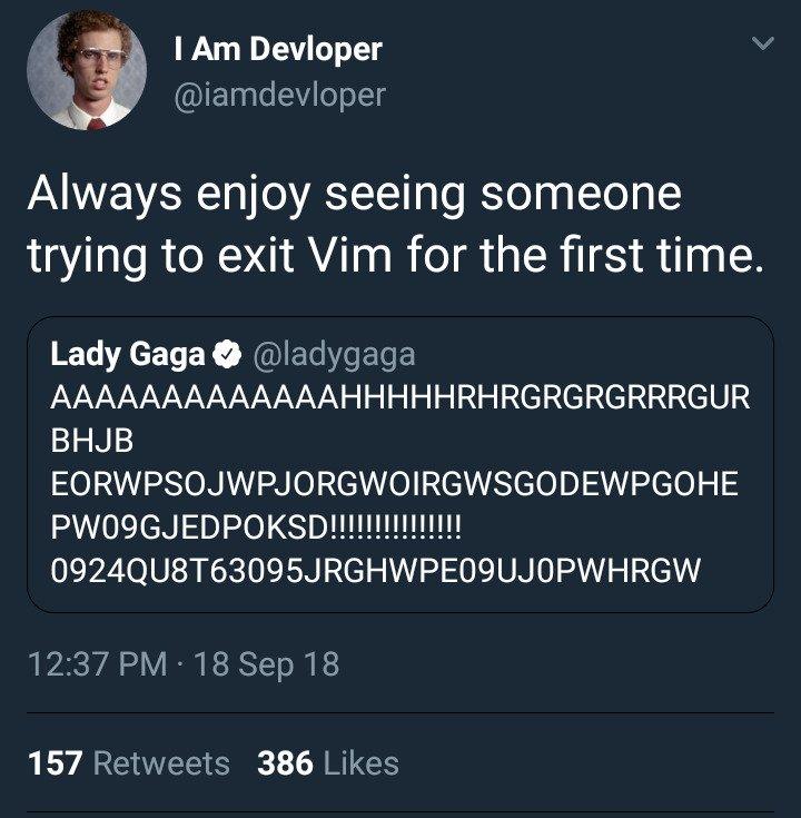 """meme που κυκλοφορούν στο διαδίκτυο για """"εγκλωβισμένους"""" στο Vim."""