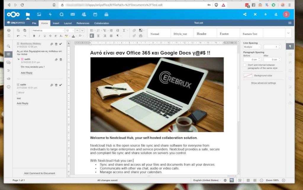 Ανοίξτε ένα αρχείο κειμένου στο Nextcloud και θα φορτώσει αυτόματα το OnlyOffice στον browser σας