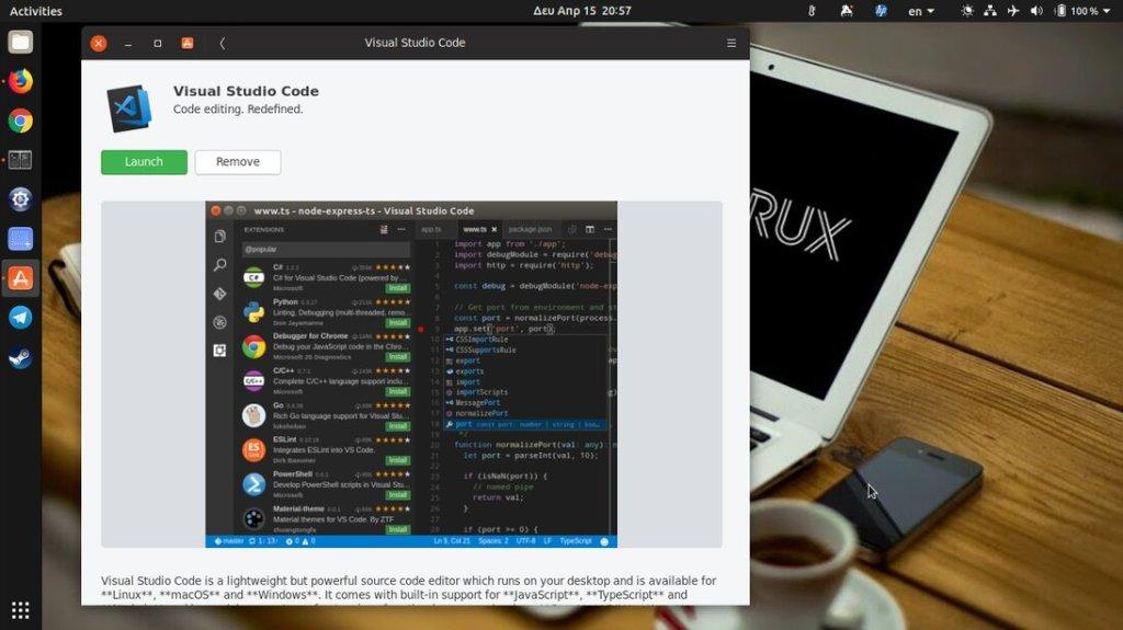 Εγκατάσταση VSCode από το Ubuntu Store