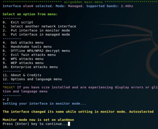 επιλογή Interface, επιλέξτε 2, δηλ. wlan0