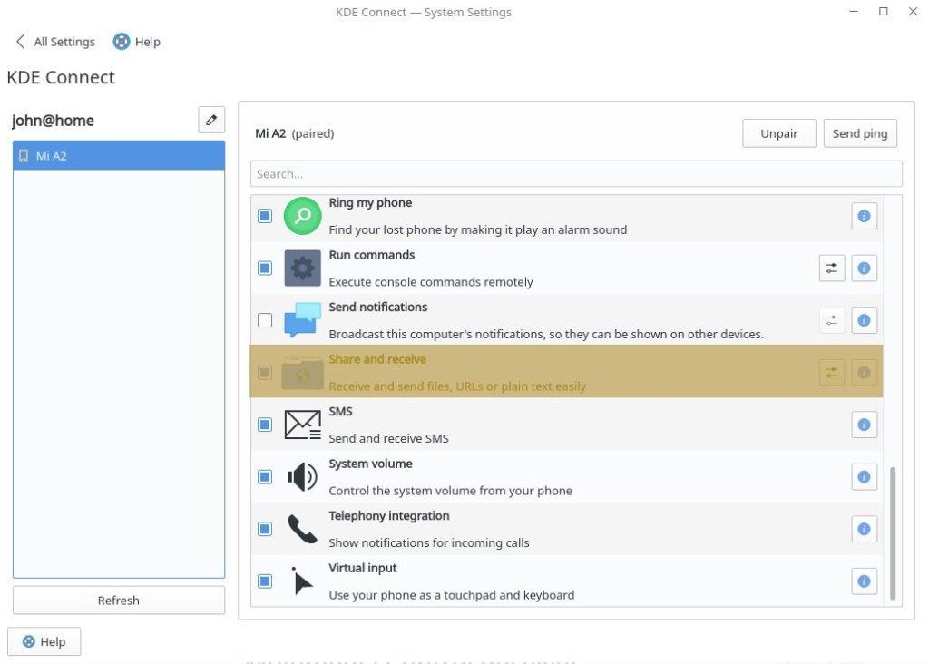 """πάμε στο KDE Connect του υπολογιστή μας και στο """"Share and Receive"""""""