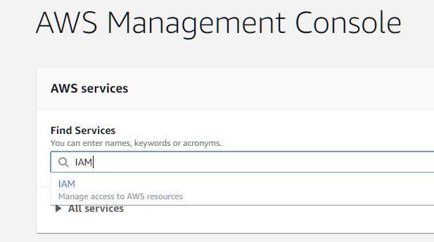 """είστε στην AWS console, ψάξτε για """"IAM"""""""