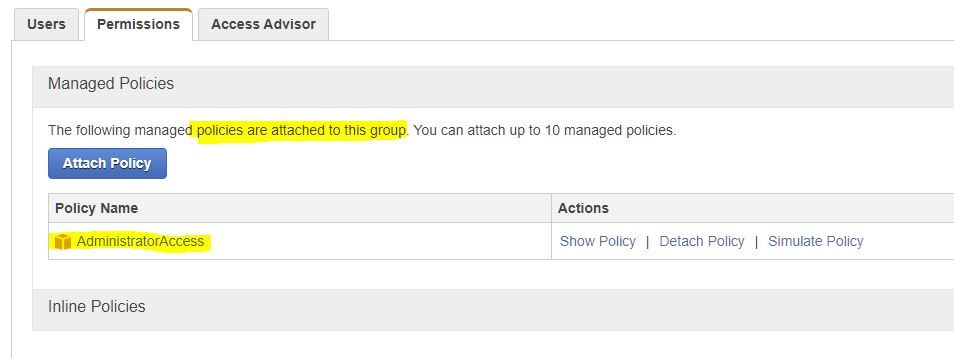 """βλέπουμε ότι η """"AdministratorAccess"""" policy"""