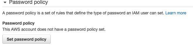 επιλέγουμε Set Password Policy