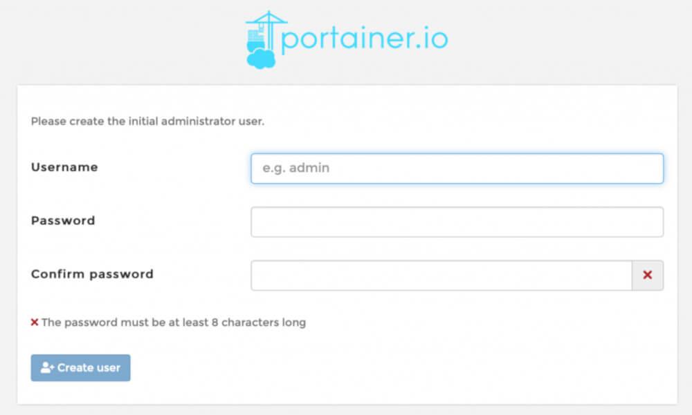 Δημιουργούμε ένα username και ένα password του διαχειριστή