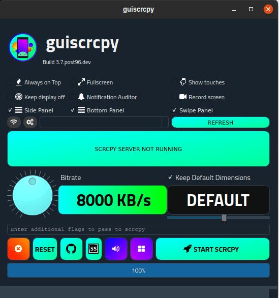 Ανοίγουμε την εφαρμογή guiscrcpy