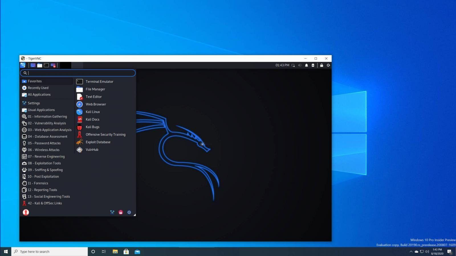 τρέχετε kex και το Desktop του Kali Linux  θα ξεκινήσει αυτόματα στα Windows