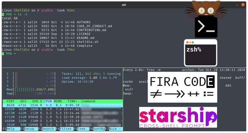 Kitty terminal με ZSH - FiraCode και Starship prompt στο Linux