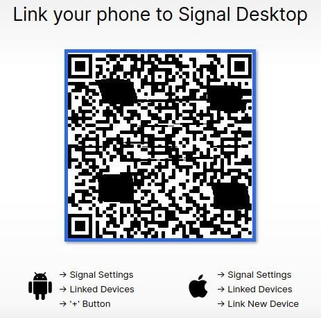 Signal στον υπολογιστή σας και το ανοίξετε θα σας εμφανίσει έναν κωδικό QR